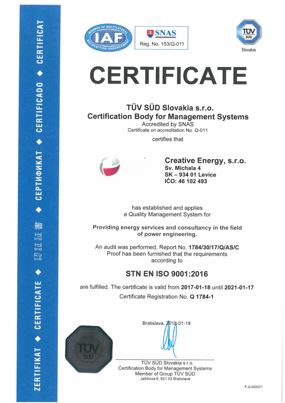 Certification body for management systems